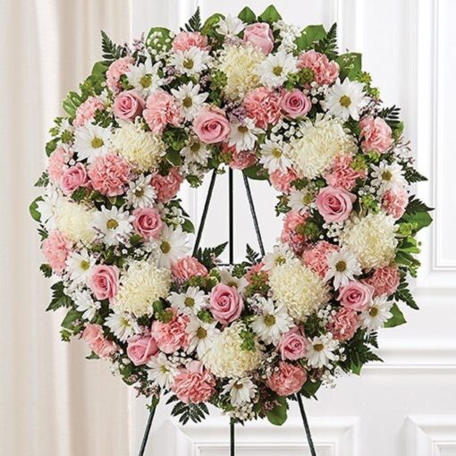 Pink & White Flower Standing Wreath at From You Flowers